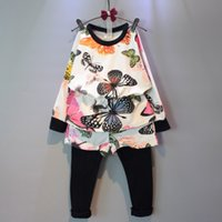 Wholesale Wholesale Leggings Suit - Autumn Lovely Children Clothing Sets Fashion Full Butterfly Printed Kids Suits Sweatshirt + Pacthwork Leggings Two-piece Girl Outfits CR320