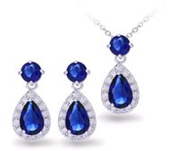 Wholesale Real Retail Sales - Zircon Jewelry Sets Luxury Naked Crystal Earrings Necklace Sets Drop Shaped Real Gold Plated Bride Jewelry Accessories for Sale Retail