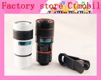 Wholesale Ipad Iphone Camera Lens - universal 8X zoom telescope camera optical lens with flexible and V clip for Samsung iPhone iPad Nokia HTC factory outlet