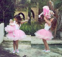 Wholesale Children Dresses Size 14 - 2018 Pink Petticoat Ball Gown Party Dresses MIni Parent-child Underskirt Tulle With Handmade Flowers Prom Petticoat