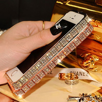 Barato Top Pára-choques Iphone-Top Selling Luxo Bling Snake Diamond Inlay Moda Telefone Case Metal Rhinestone Bumper para iPhone 5S 6 6plus 6S 6Splus caso orelha
