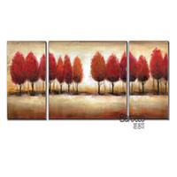 pintura abstracta árbol rojo al por mayor-3 Piezas Abstracto Árbol Rojo Pintado A Mano Paisaje Pintura Al Óleo Casa Moderna Decoración de Pared Sin Marco