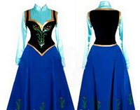 Casual Dresses Others Others Wholesale-2015 Snow Queen Princess Anna Made Cosplay Costume For Adult Womens With Cloak Coronation Dress Free Shipping