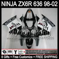 ingrosso zingari occidentali zx6r-8Gifts + Body per KAWASAKI NINJA ZX6R 98-02 ZX636 Black west ZX 636 MY37 ZX-6R ZX 6R 98 99 00 01 02 1998 1999 2000 2001 2002 Carena bianco