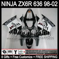 Wholesale Kawasaki 636 West - 8Gifts+ Body For KAWASAKI NINJA ZX6R 98-02 ZX636 Black west ZX 636 MY37 ZX-6R ZX 6R 98 99 00 01 02 1998 1999 2000 2001 2002 Fairing White