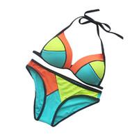 bikinis super push up al por mayor-2015 Color Block Mujeres Bikinis Halter Strappy Bra Neopreno Bikini Brasileño Sexy Super Push Up Bikini Traje de baño Traje de baño Mujeres FG1511