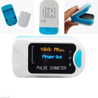 oksijen nabız oksimetresi toptan satış-Yeni OLED CMS50NA Parmak Ucu Pulse Oksimetre Kan Oksijen Spo2 Pr + Ücretsiz Durumda