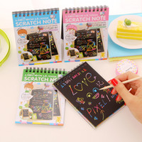 Wholesale Wholesale Book Binding Supplies - Wholesale- Free shipping DIY Cute Kawaii Coil Graffiti Notebook Black Page Magic Drawing Painting Sketch Book For Kids School Supplies 1013