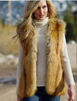 Wholesale Womens Vest Brown - Autumn New Fashion Womens Faux Fur Vest Long Hair Sleeveless Vests Coat Ladies Slim Fur Outwear Coats S-XXXL new arrive free shipping