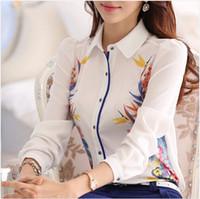 Wholesale Women Floral Button Shirt - 0880 Good quality Brand new 2016 Spring Summer Women Floral print shirt blouses plus size maxi white chiffon tops blusas