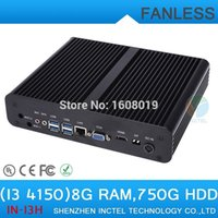 Wholesale Thin Client Computer Terminal - Wholesale-PC Computer Thin Client PC Terminal Fanless PC i3 4150 with Intel Core i3 4150 3.5Ghz HDMI VGA DP Three display 8G RAM 750G HDD
