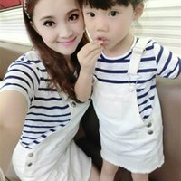 Wholesale Set Girl S Jeans - 2016 New Summer Family Matching Clothes Mother Daughter Matching T-shirt and white Jeans Dress Girls Dresses Chirldren Clothes