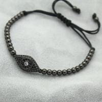 Wholesale Man Evil Eye Bracelet - Wholesale-Anil Arjandas Fashion Men Black Bracelet,Pave Setting Black CZ Evil Eye Connector & 4mm Round Bead Braiding Men Macrame