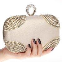 Wholesale Ring Rhinestone Clutch - HOT punk rings rhinestones evening bags clutch purse evening women bags handbags tote shoulder bag
