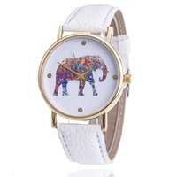 Wholesale Watches Elephant Design - Free Shipping 2015 women elephant design flower printing ladies leather PU wrist watch fashion dress quartz watches A-50