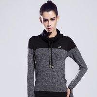 одежда йоги высокого качества оптовых-Женщины спортивные футболки с длинным рукавом упражнения Quick Dry фитнес одежда тренировки упражнения женские высокое качество эластичный йога топ