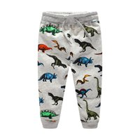 Wholesale kids boys sweatpants - New Kids clothing Knit Sweatpants Dinosaur Print cotton Casual pants Trousers for middle kids Draw cord Quality Children clothing 2-7T
