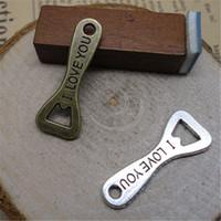 Wholesale Sliding Opener - Vintage I Love You Stamped Alloy Bottle Opener Charms 100pcs lot AAC568