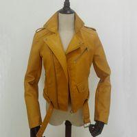 синий желтый куртка мотоцикла оптовых-Wholesale- 2017 New Fashion Autumn Winter Women  Faux Soft Leather Jackets Pu Blue Red Yellow Zippers Long Sleeve Motorcycle Coat