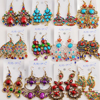 Wholesale Earring Tibetan Silver - 50Pairs lot mixed Vintage Tibetan Silver Bronze&Resin Fashion Earrings wholesale earrings New fashion jewelry