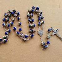 Wholesale Cloisonne Cross Beads - Catholic Religious Jewelry Fashion Metal Cross Pedant Long Blue Red 8 mm Beads Cloisonne Rosary Necklace