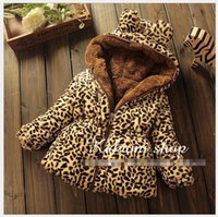 Wholesale Baby Leopard Coat Outwear - Baby Girls Cashmere Thicken Warm Coats Outwear 2015 Winter Children Leopard Zipper Hooded Coat Kids Clothing Cute Girl Clothes 4pcs lot