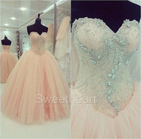 Wholesale Young Girls Pageant Dresses - Amazing Crystal Bead Ball Gown Tulle Sweetheart Prom Dresses Sweet 16 Ragazza Prom Dress Corset Lace-Up Young Girl Pageant Dress Cheap