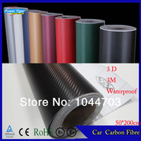 Wholesale 3m Vinyl Wrapping - 50*200CM Waterproof DIY Car Sticker Car Styling 3D 3M Car Carbon Fiber Vinyl Wrapping Film With Retail packaging