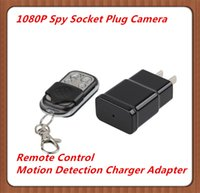 Wholesale Ac Adapter Camcorder - 1080P Full HD Plug Spy Camera Charger AC Adapter Hidden Video Camera with Motion Detection DVR Remote Control Mini DV Camcorder