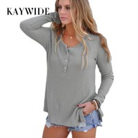 KAYWIDE 2017 Frauen Tops Serie Herbst Winter Gestrickte Volle Hülse Casual T-shirt Taste Up Side Split Sexy Mode Grundlegende T-Shirt 171106