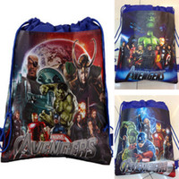 Wholesale Cheap Children Backpacks - The Avengers 2 Age of Ultron 2015 New children backpacks the avengers alliance boy non-woven drawstring bags boy school bags cheap 201505HX