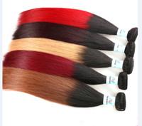Wholesale Cheap 1pcs Hair Extension - Cheap Ombre Hair Extensions Brazilian Straight Remy Human Virgin Hair Weave Two Tone Color 1B 27 1B 30 1B 99J 1B Red 1pcs lots