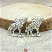 ingrosso braccialetto d'argento del lupo-Fascini 250pcs monili placcati argento antico in lega di zinco lupo adatti DIY Collana Bracciale Pendente