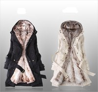 Wholesale Overcoat Poncho Jacket - Wholesale-winter jacket women coat fur overcoat poncho feather Ladies Coats Warm Long Cotton Clothes Thermal Parkas Free Shipping