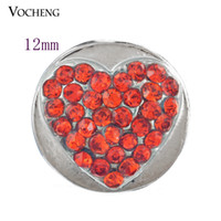 Wholesale Diy Jewelry Crystal 12mm - Petite Ginger snap jewelry Heart Inlay Red Crystal 12mm Small Snap Chunk Button Jewelry DIY Nosa Jewelry Accessory (Vn-253)