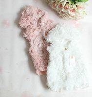 Wholesale Child Pink Fur Vest - Children fleece vest baby girls Flower Faux Fur vest winter new Baby Kids Autumn Winter Warm Vest outwear children wear waistcoat A5164