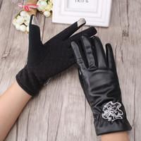 Wholesale fingerless opera gloves black - Wholesale- C New Design PU Leather Gloves Women's Black Autumn Winter Warm Wrist Mitts Lace Flower Decoration Women Elegant Mittens