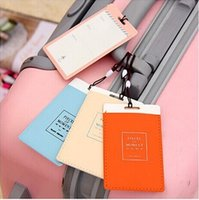 Wholesale Wholesale Leather Luggage Tags - 2015 New Leather Luggage Tags Travel Paper Suitcase Tag Carrying case Tag Packet Label Wrap Easily recognizable Bag Parts With lanyard