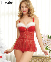 Wholesale Sex Baby Doll For Man - TITIVATE Hot Christmas Babydoll Sex Costumes Sexy Baby Doll Underwear Dress Pyjamas Women Erotic Lingeries Dress Suit for Women