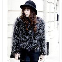 Wholesale Warm Villus - 2015 Fur Coats Woman Winter Design Outerwear Casual Long Sleeve Villus Ostrich feather Faux Fur Winter Coat Women