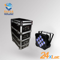 Wholesale Rgba Par - Wholesale-Hot 24X Lot Rasha 9pcs*10W 4in1 RGBW RGBA Chargble Powered Wifi LED Flat Par Can With Stackable Charging Road Case Fan Cooling