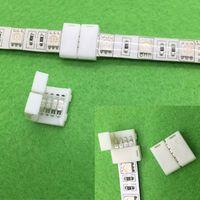 ingrosso connessioni a strisce-50PCS 5050 RGB Led Strip Connettore 4 Pin Led Connettori No Saldatura 10mm PCB board collegamento a filo per 5050 RGB Strip