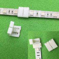 Wholesale Led Strip Connectors Pin - 50PCS 5050 RGB Led Strip Connector 4 Pin Led Connectors No Soldering 10mm PCB board wire connection for 5050 RGB Strip
