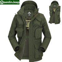 Wholesale outdoor trench coat - Senlin Jeep Men's Warm Jackets Casual Military Many Pockets Trench Coats Sleeves Detachable Outdoors chaquetas jaqueta 8761