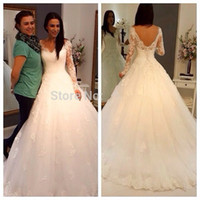 A-Line casablanca news - News Vestido De Noiva Cheap Vestido De Festa Longo Sexy Sheer Full Sleeve Zipper Back Tulle Wedding Dress Bridal Gown Casamento