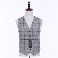 Wholesale Tailor Made Evening Gowns - High-quality classic gray plaid V-neck sleeveless men's tailless evening gown vest and groomsmen dress vest factory tailor-made