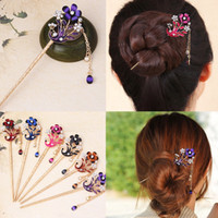 Lady Alloy Diamond Flower Curved Hair Pins Peacock Chinese Tassel Hair Clip Vintage Rhinestone Headdress Step Shaking Hairpin 15.2 * 3.5cm