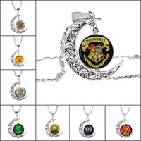 Hot New Harry and the Potter Jóias Presente de Natal 8 cores Silver Alloy Time Gemstone Curvy Moon Pendant Necklace For Man Woman Kids