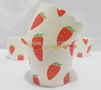 Wholesale Strawberry Cupcake Liners - mini strawberry baking cup cupcake liners muffin cups cases,paper cake wrap tools wedding baby shower party favors decoration