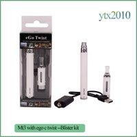 bateria twist ego venda por atacado-eGo-C Torção e Cigarro Ego starter kit mt3 atomizador Cigarro Eletrônico 650mAh 900mAh 1100mAh eGo-Twist Bateria Kit Blister Pack